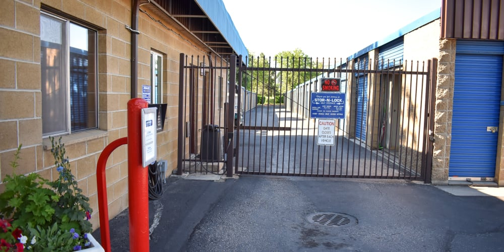 The front gate at STOR-N-LOCK Self Storage in Boise, Idaho
