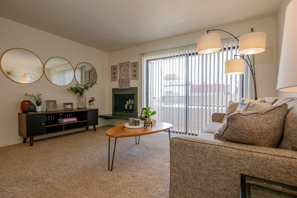 Bright living room at Council Place Apartments in Oklahoma City, Oklahoma