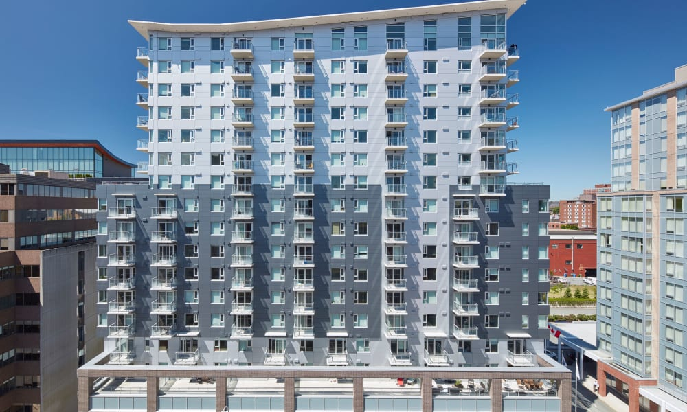 Exterior view of the facade at 19Twenty Apartments in Halifax, Nova Scotia