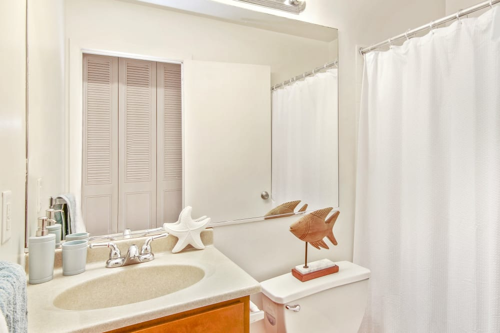 Bathroom with a large vanity mirror at West Line Apartments in Hanover Park, Illinois