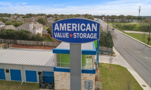 Storage Front sign at American Value Storage in San Antonio, Texas