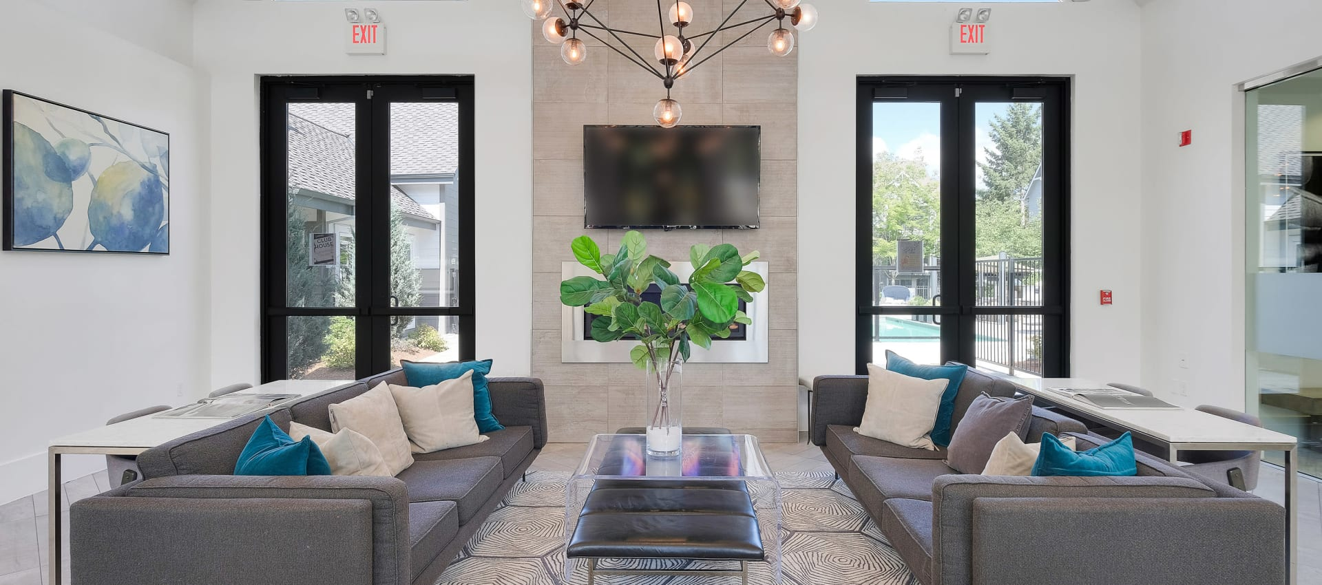 Clubhouse commons at Centro Apartment Homes in Hillsboro, Oregon