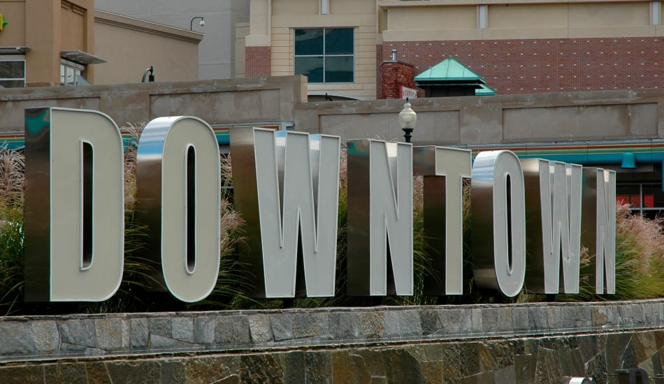 Downtown sign in Baltimore, MD near Calloway Row Apartments