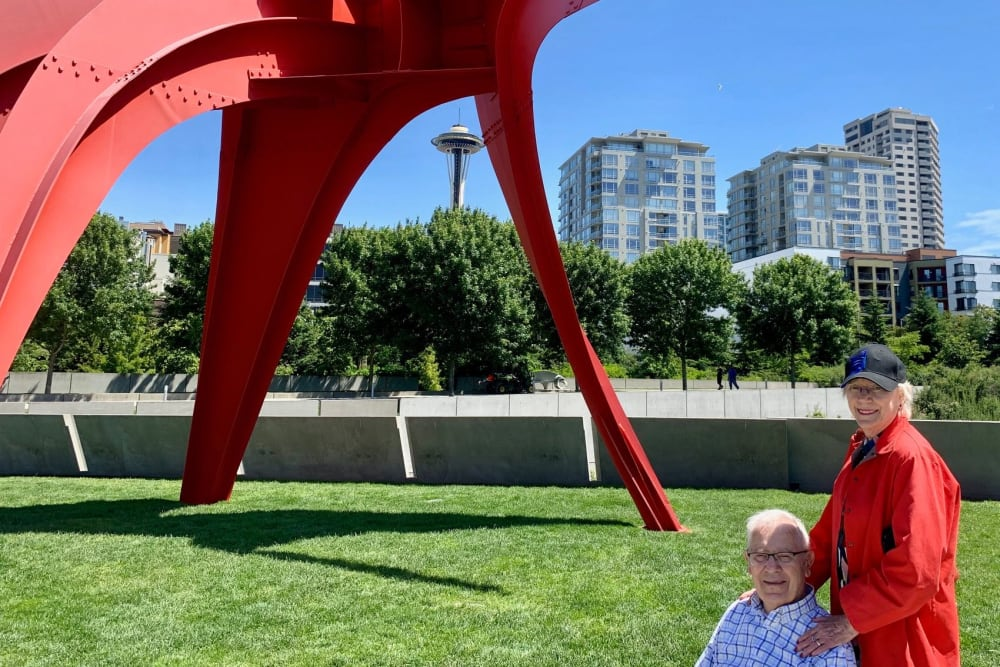 Residents at the Olympic Sculpture Park near Merrill Gardens at First Hill in Seattle, Washington.