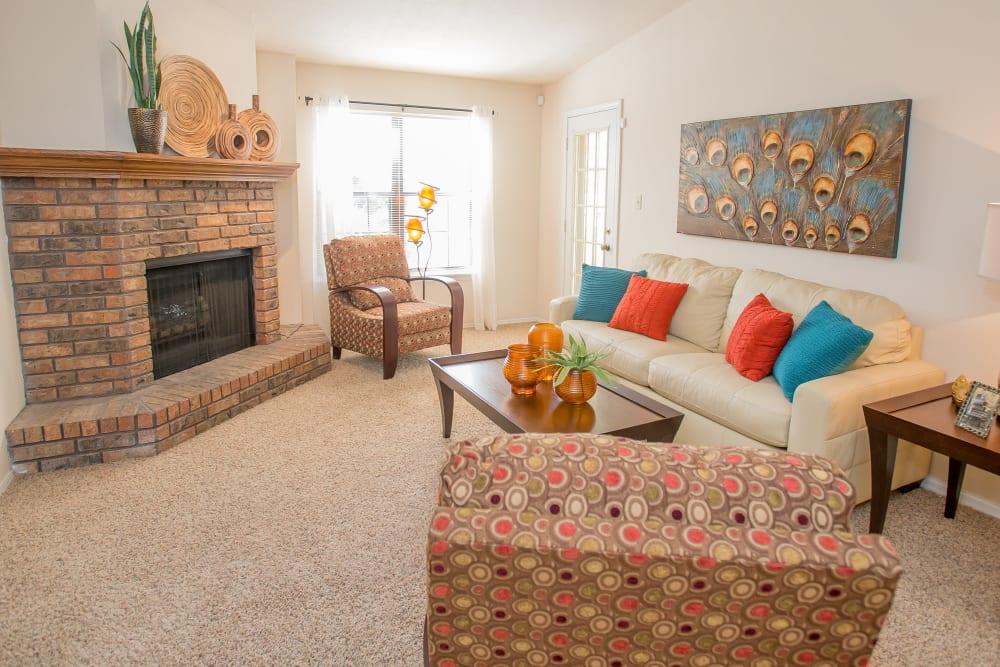 Cozy living room at Barrington Apartments in Tulsa, Oklahoma
