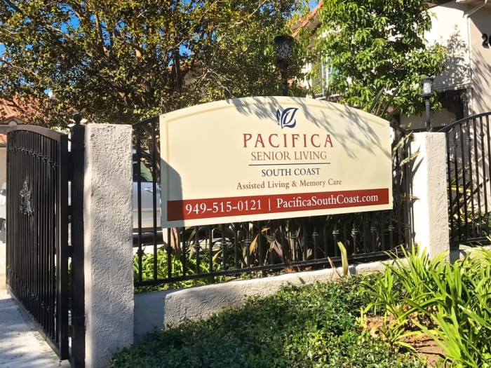 Exterior sign at Pacifica Senior Living South Coast in Costa Mesa, CA