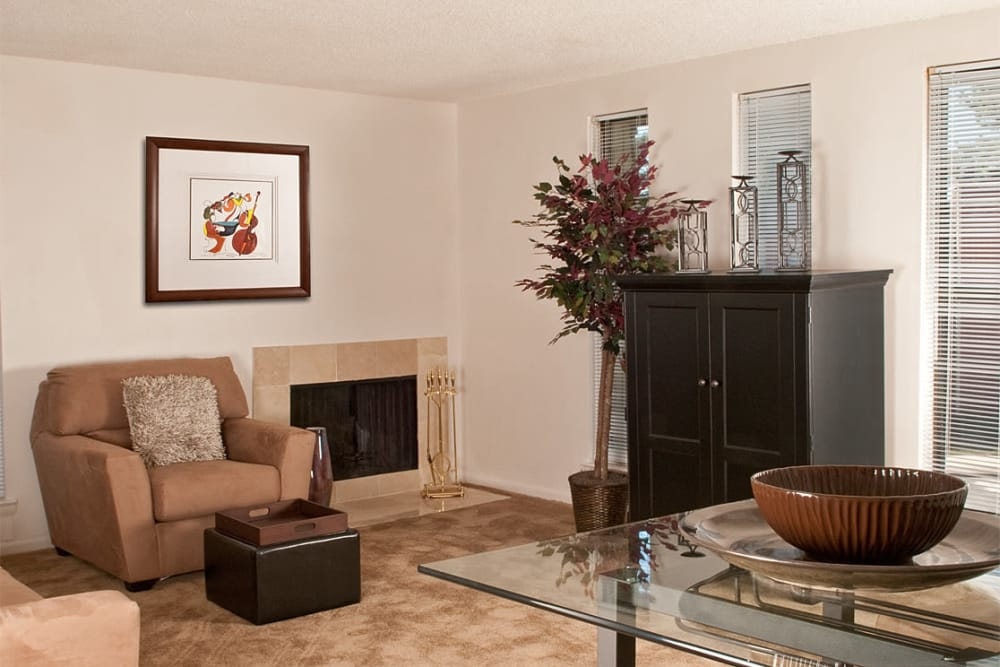 Living room with a fireplace at Pine Ridge in Lindenwold, New Jersey