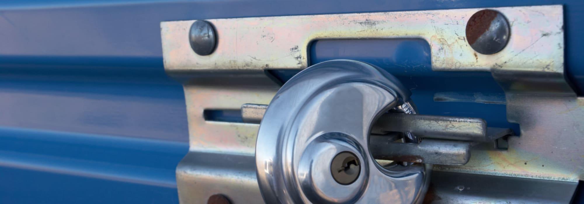Lock on storage unit at Self Storage Plus in Springfield, Virginia