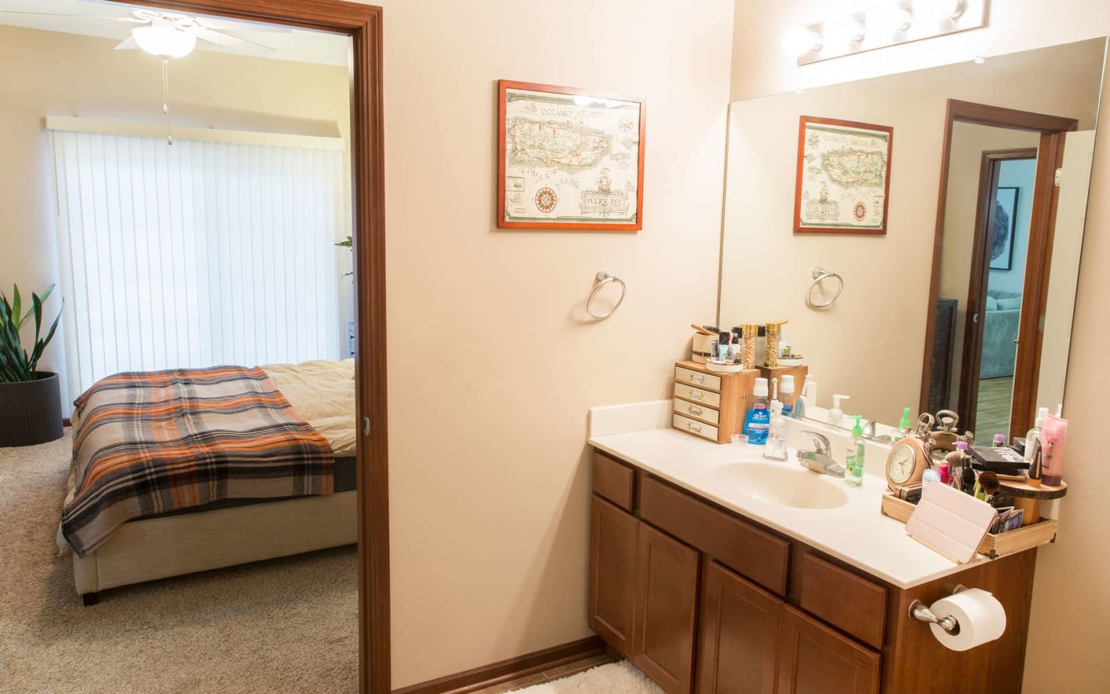 Bathroom attached to the bedroom at Woodland Reserve in Ankeny, Iowa