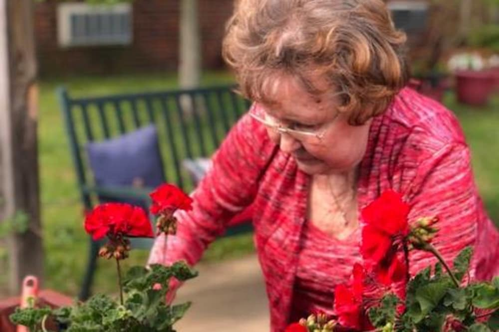 A resident gardening at Autumn Woods Health Campus in New Albany, Indiana
