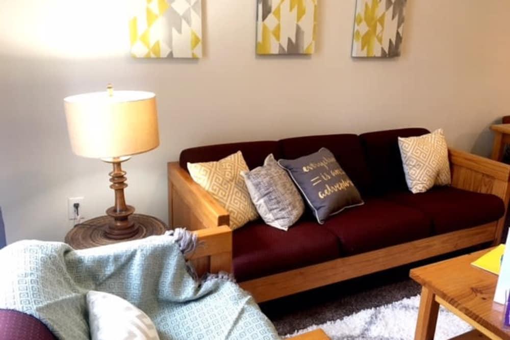 Decorated living room at The Flatts Salisbury in Salisbury, Maryland