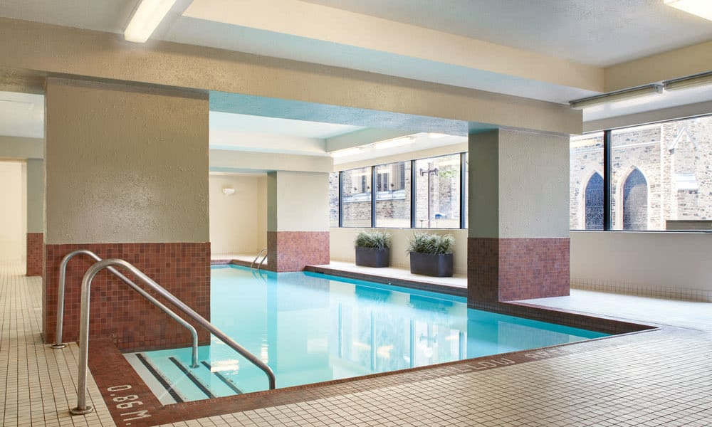 Sparkling swimming pool at Residences on Bloor in Toronto