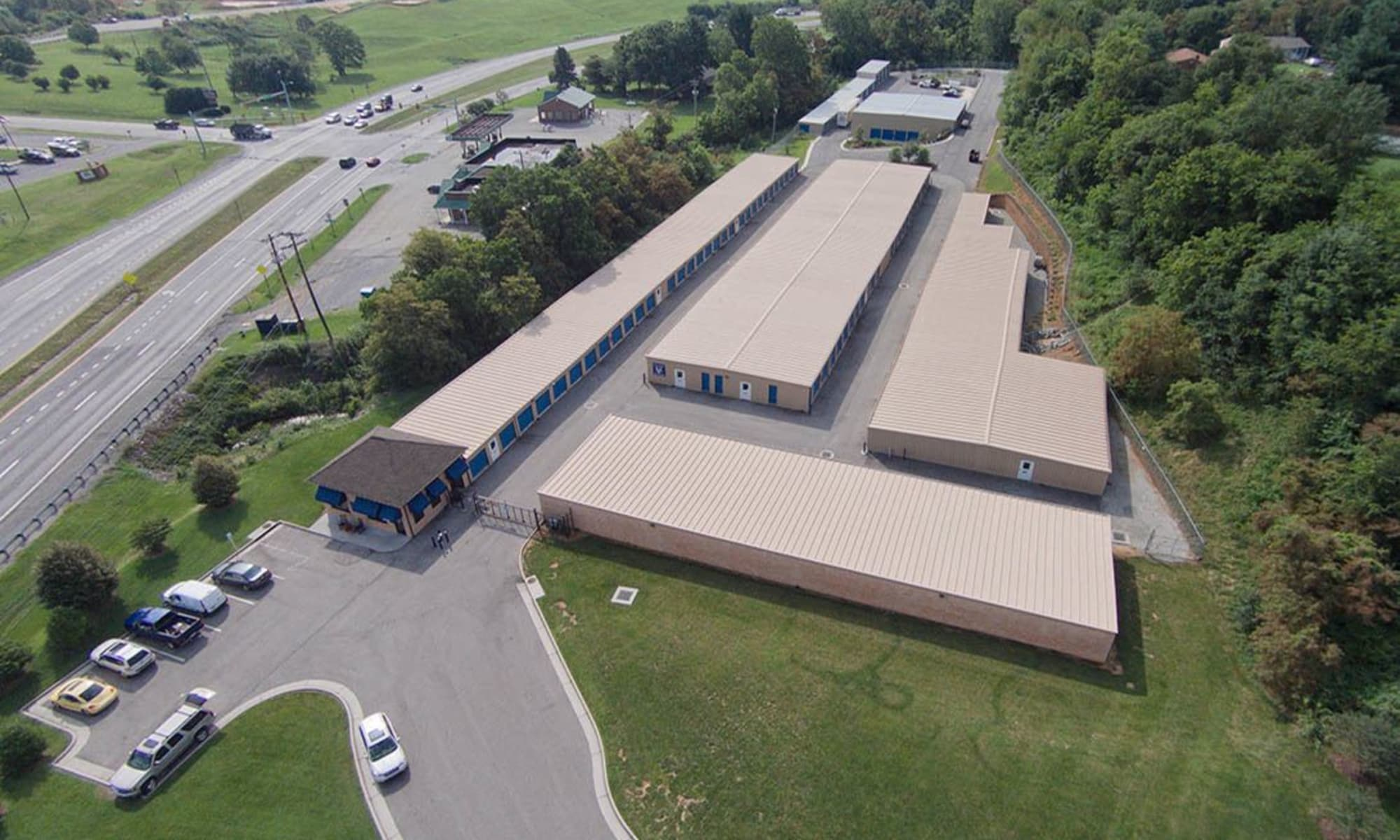 Aerial view of Self storage facility