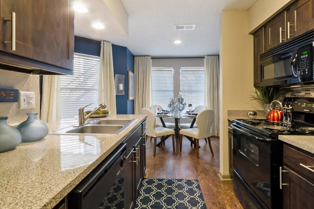 Beautiful chef's kitchen at Ridgeview Place in Irving, Texas