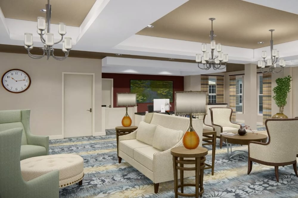 Architectural rendering of lobby at Harmony at Harts Run in Glenshaw, Pennsylvania