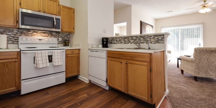 The Waterway Apartment Homes offers a kitchen room in Lexington, SC