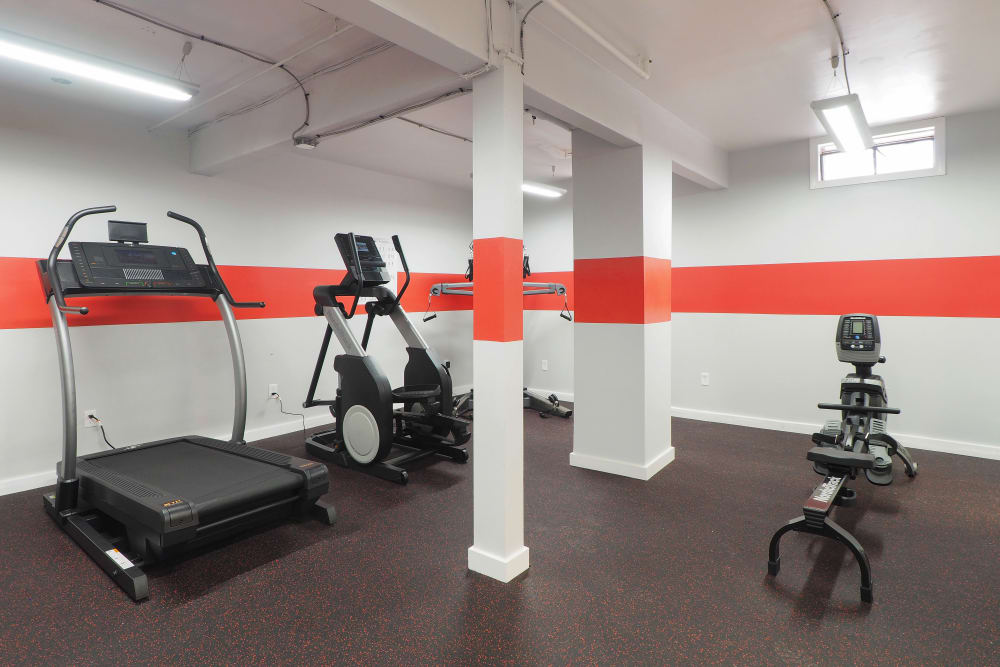 Spacious fitness center at The Packard in West Hartford, Connecticut