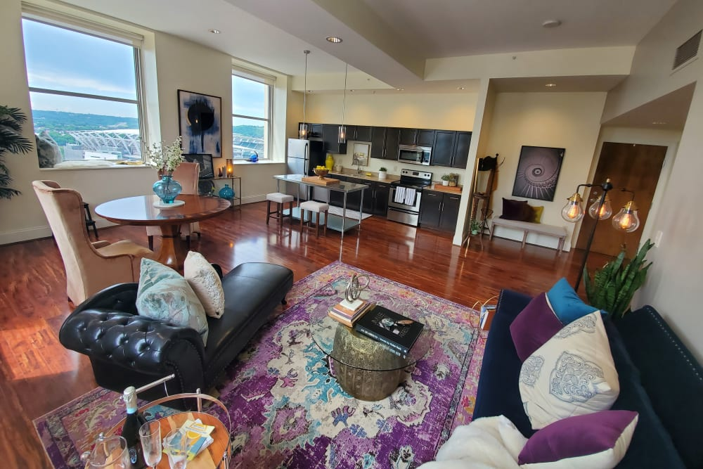 Spacious living room is a feature of this open format floor plan at The Reserve at 4th and Race in Cincinnati, Ohio