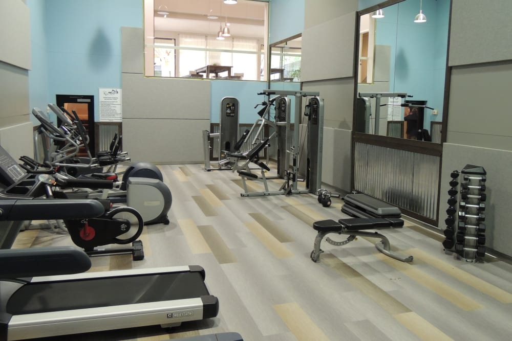 Fitness center with plenty of individual workout stations at Royal Farms Apartments in Salt Lake City, Utah