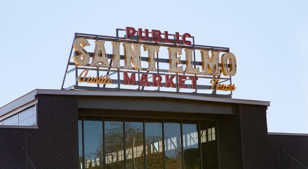 Saint Elmo Public Market neon sign near 44 South in Austin, Texas