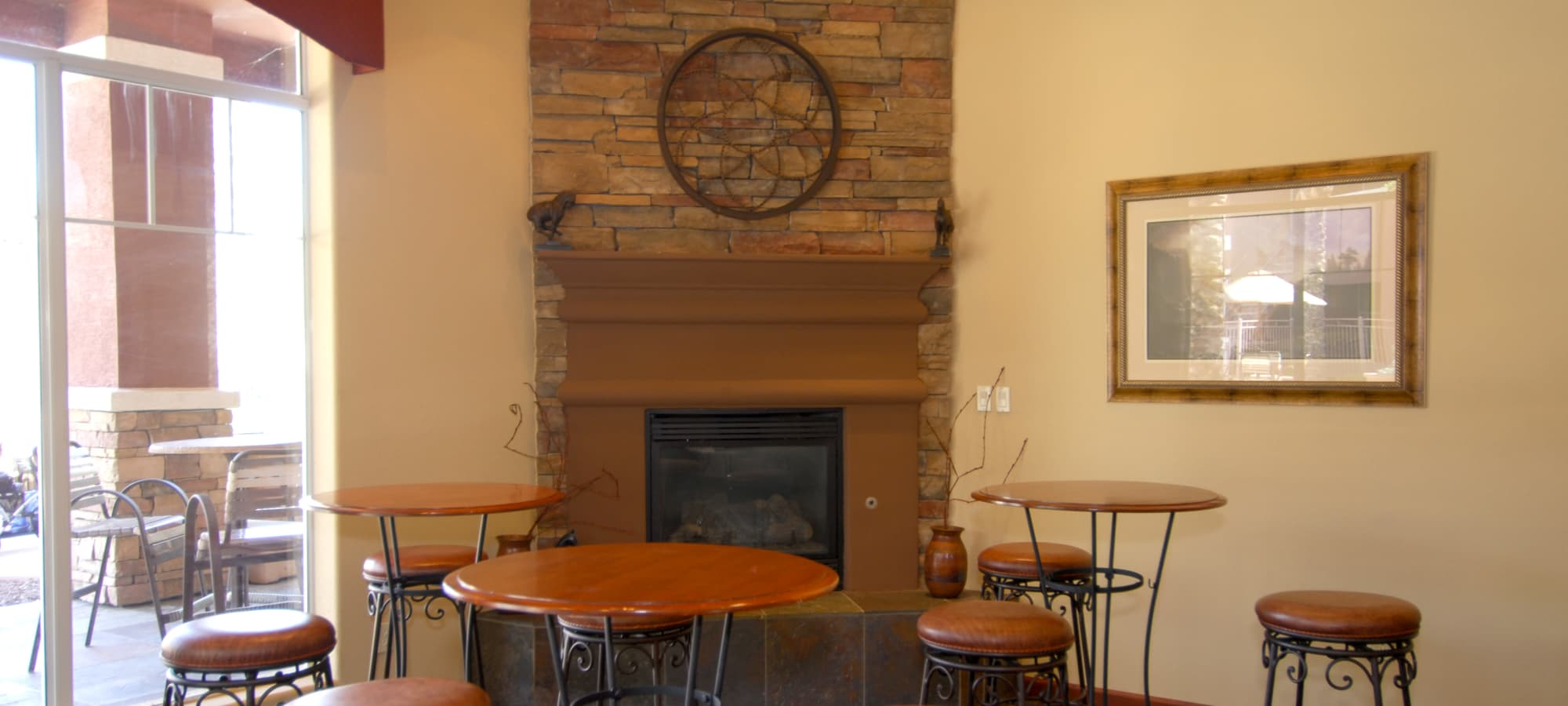 Clubhouse with fireplace at Remington Ranch in Litchfield Park, Arizona