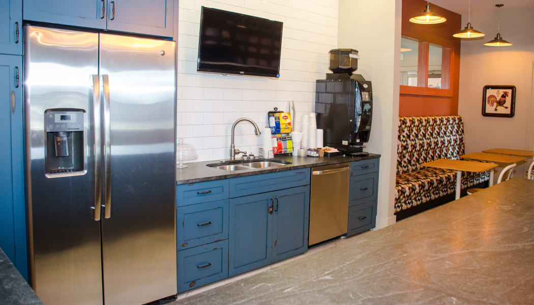 Kitchen with stainless-steel appliances at The Nest on 17 in Carrollton, Virginia