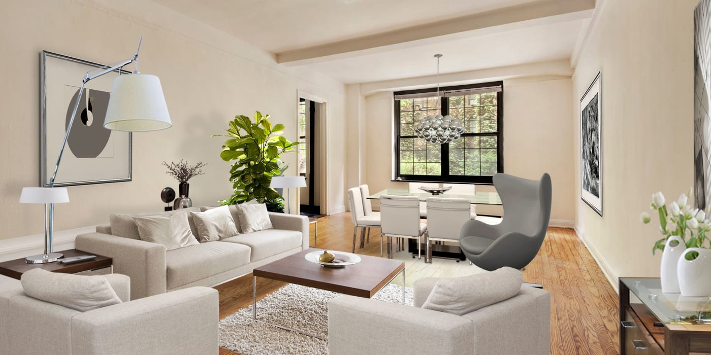 Large spacious living room in a model home at London Terrace Gardens in New York, New York
