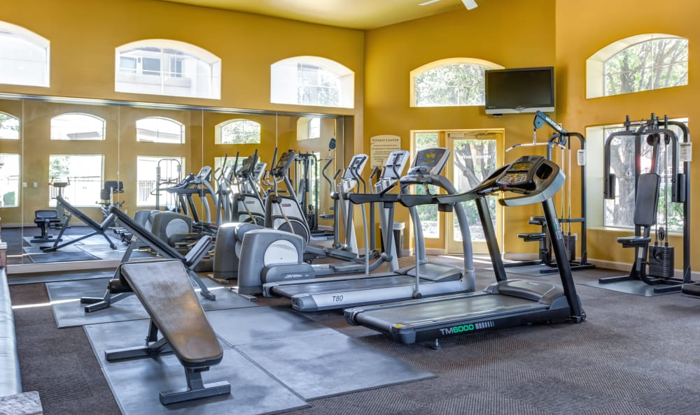 Light-filled fitness center at The Links at High Resort