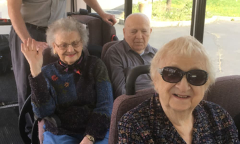 Residents on a road trip via bus at Heritage Hill Senior Community in Weatherly, Pennsylvania