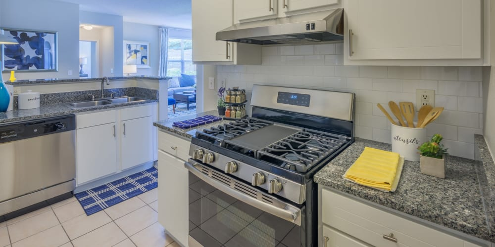 Model home's well-equipped kitchen with granite countertops and stainless-steel appliances at 200 East in Durham, North Carolina