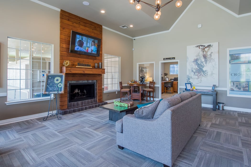 Clubhouse with vaulted ceilings at Crown Chase Apartments in Wichita, Kansas