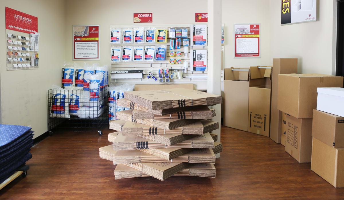 Storage supplies at Jupiter Park Self Storage in Jupiter, Florida