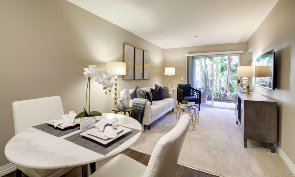 Dining and living room at Fairview Commons in Costa Mesa, California