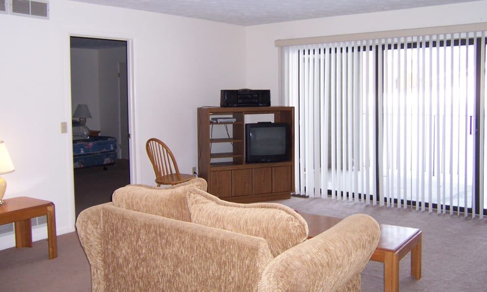 Our apartments in Pittsford, NY have a naturally well-lit living room