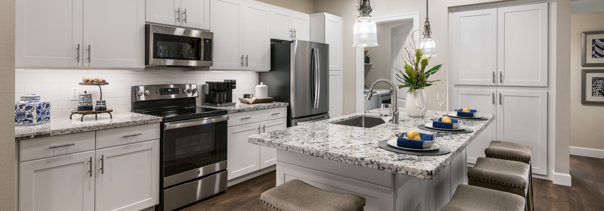 Bright kitchen with an island at San Artes in Scottsdale, Arizona