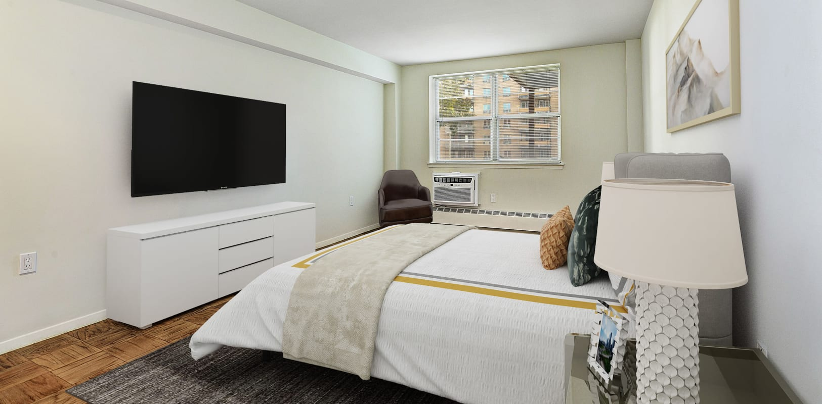 Well decorated bedroom with tv on wall at Hampshire House in Allentown, Pennsylvania