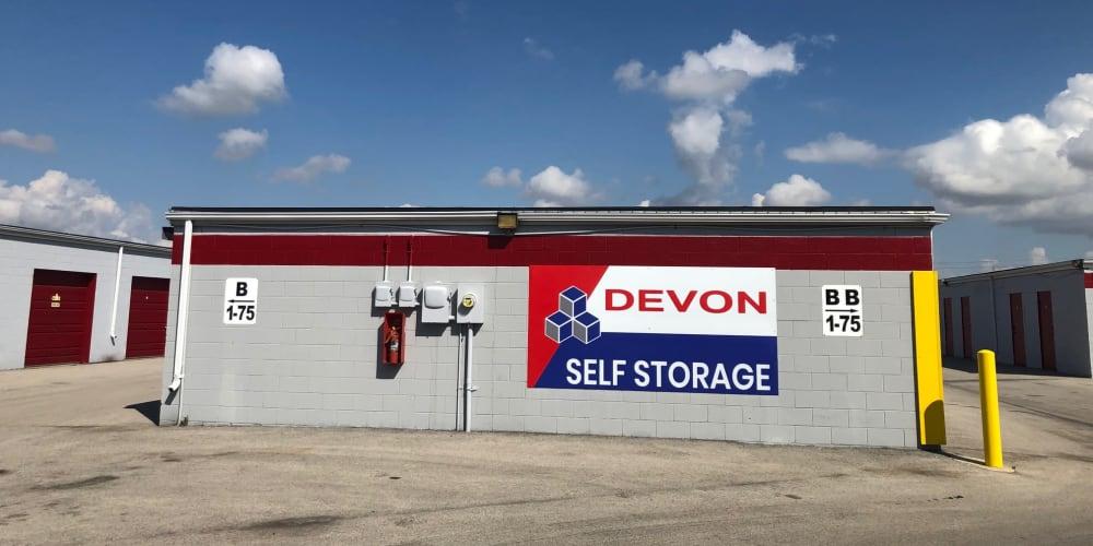 Side of building at Devon Self Storage in Urbana, Illinois