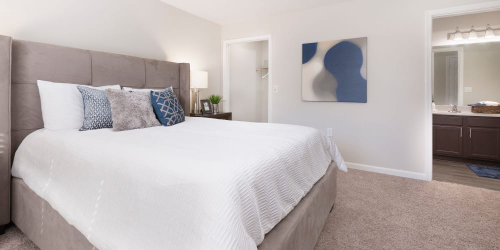 Carpeted bedroom with private bathroom at Ascend @ 1801 in Charlotte, North Carolina
