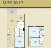 Three Bedroom, The Coral Townhome, at The Palms at Casselberry in Florida