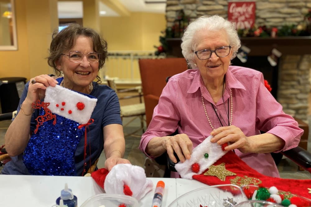 making stockings at The Pines, A Merrill Gardens Community in Rocklin, California