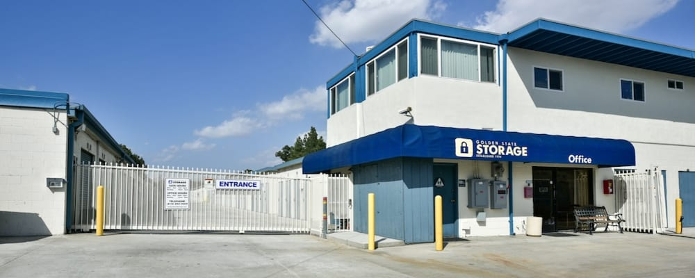 Entrance gate and driveway at our storage facility on Roscoe Boulevard in North Hills
