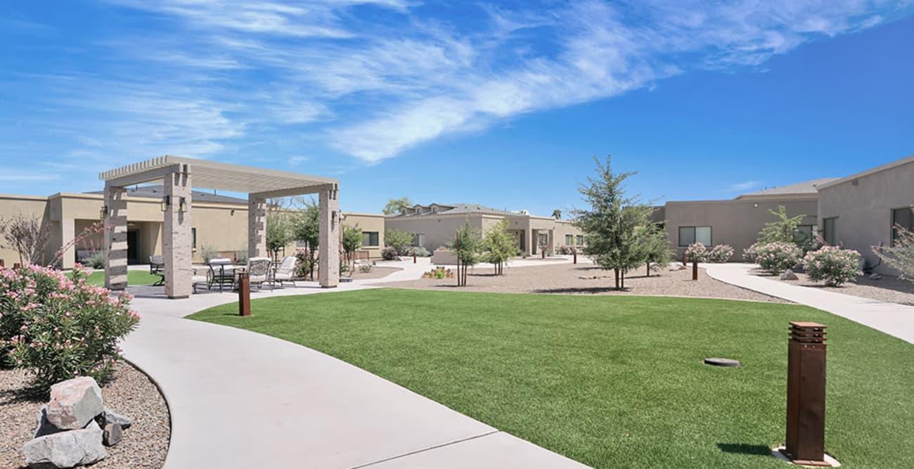 Front entrance at senior living community in Litchfield Park, Arizona