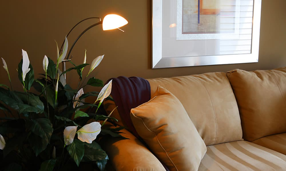 Illuminated living room at Concord Towers Apartments in Madison Heights, Michigan
