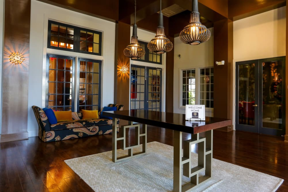 Luxuriously furnished lobby interior at The Hawthorne in Jacksonville, Florida