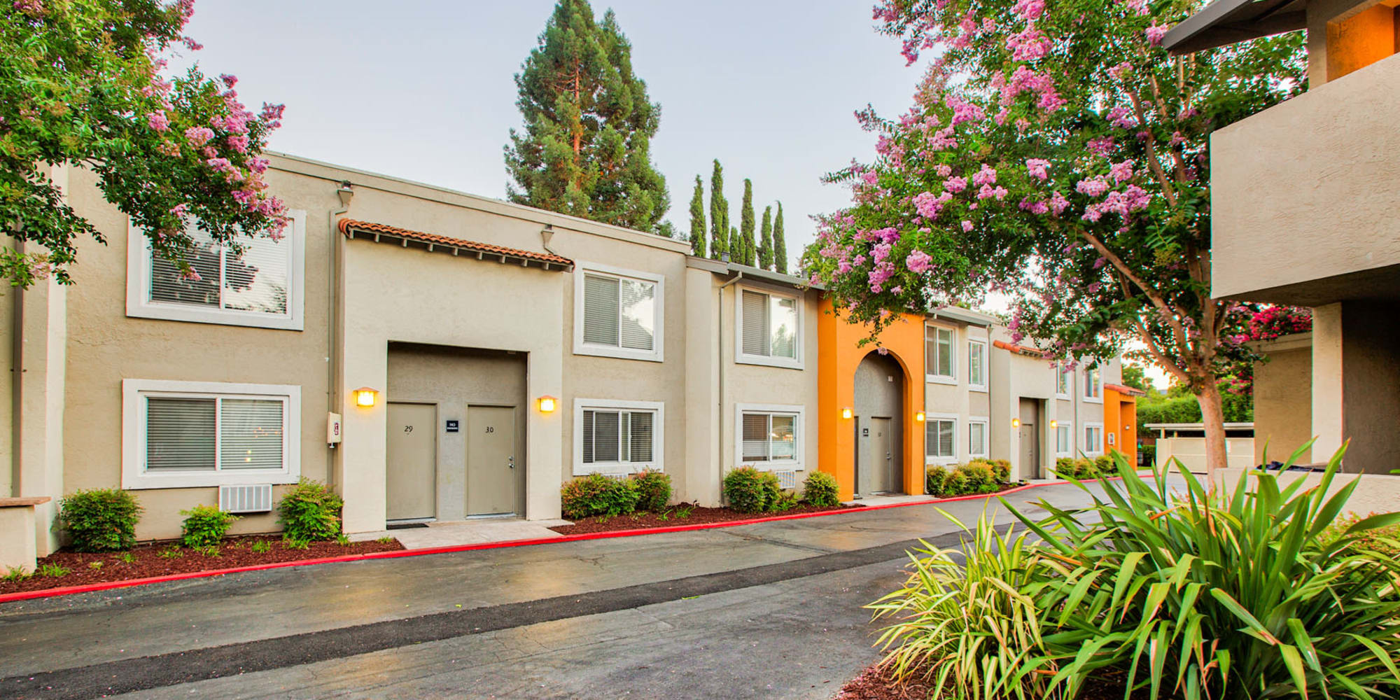 Beautifully maintained grounds at Pleasanton Place Apartment Homes in Pleasanton, California