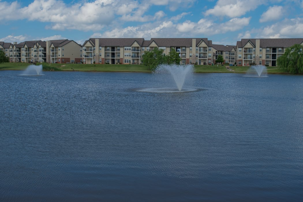 Villas at Stonebridge's community pond in Edmond, Oklahoma