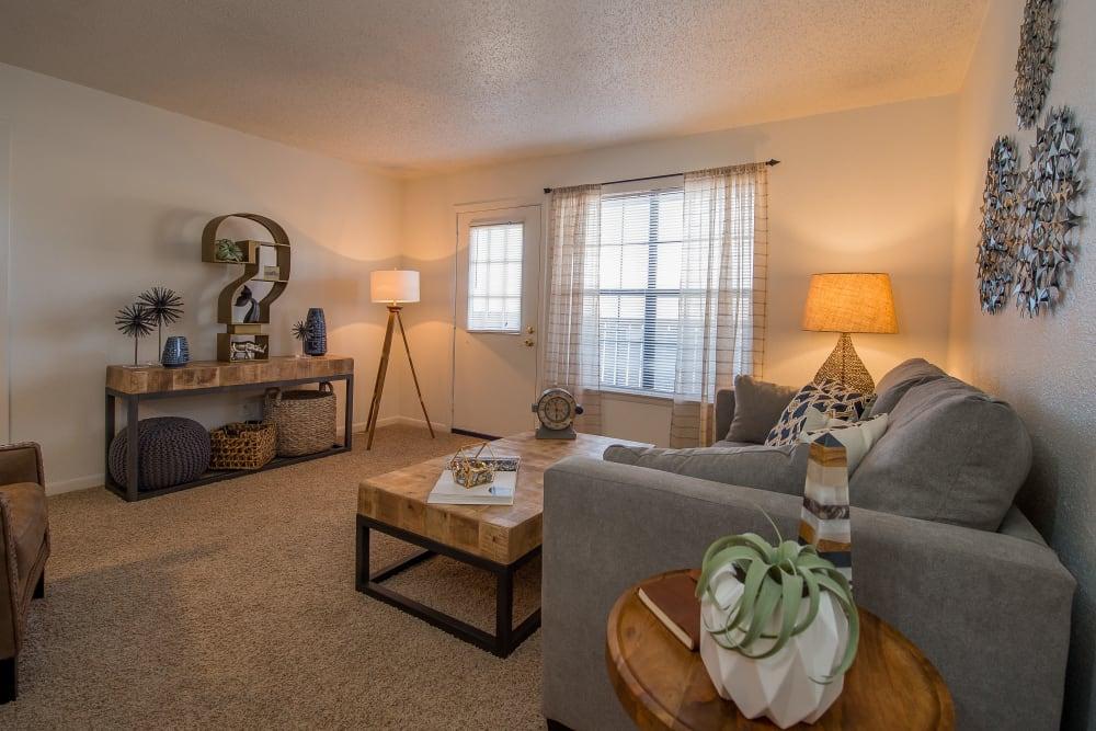 Bright living room at Waters Edge in Oklahoma City, Oklahoma