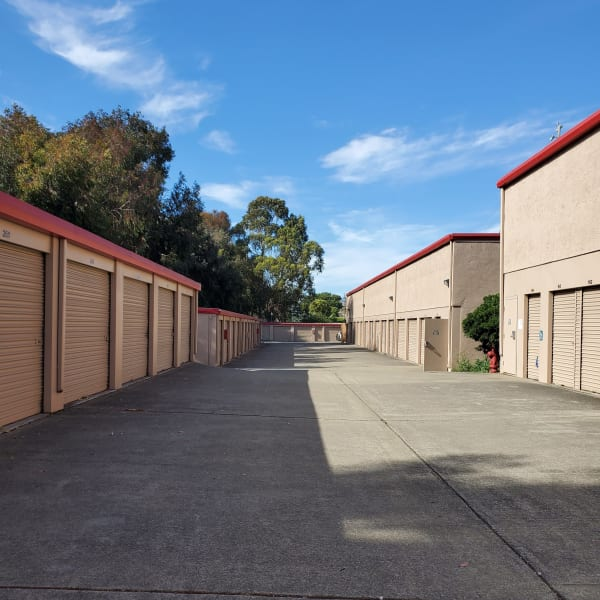 Outdoor drive-up storage units at StorQuest Self Storage in Vallejo, California