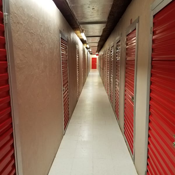 Climate controlled indoor storage units at StorQuest Self Storage in Tampa, Florida