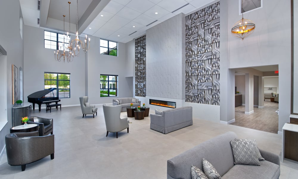Inviting lobby at Keystone Place at Naples Preserve in Naples, Florida